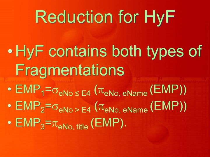 Reduction for Hy. F • Hy. F contains both types of Fragmentations • EMP