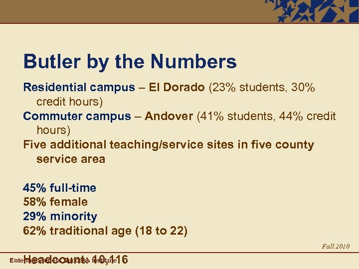 Butler by the Numbers Residential campus – El Dorado (23% students, 30% credit hours)