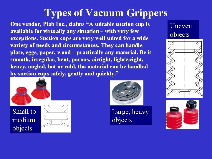 "Types of Vacuum Grippers One vendor, Piab Inc. , claims ""A suitable suction cup"