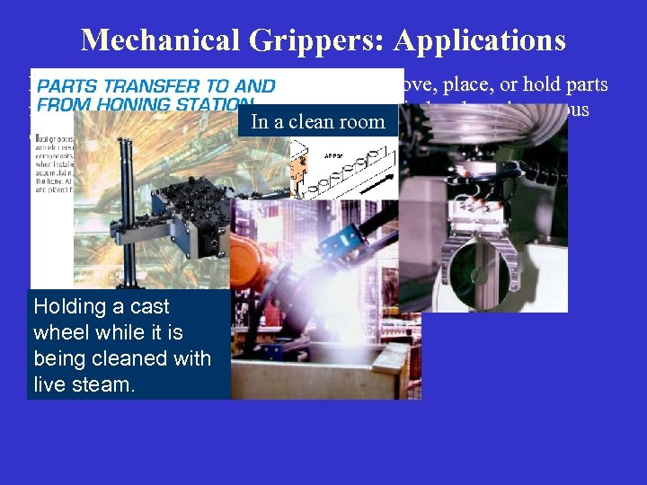 Mechanical Grippers: Applications Mechanical grippers are used to pick up, move, place, or hold