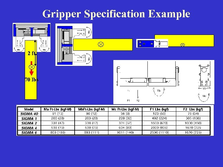 Gripper Specification Example 2 ft. 70 lbs