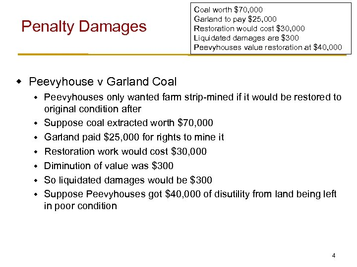 Penalty Damages Coal worth $70, 000 Garland to pay $25, 000 Restoration would cost