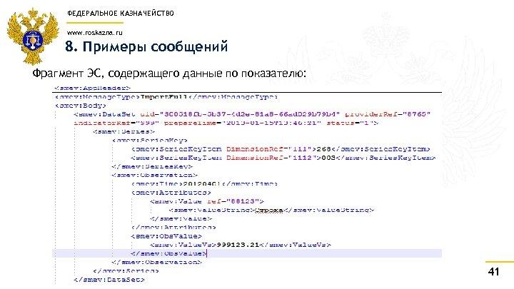 ФЕДЕРАЛЬНОЕ КАЗНАЧЕЙСТВО www. roskazna. ru 8. Примеры сообщений Фрагмент ЭС, содержащего данные по показателю: