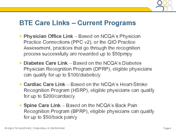 BTE Care Links – Current Programs § Physician Office Link – Based on NCQA's