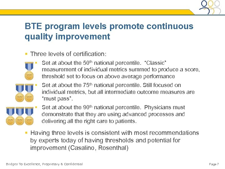 BTE program levels promote continuous quality improvement § Three levels of certification: § Set