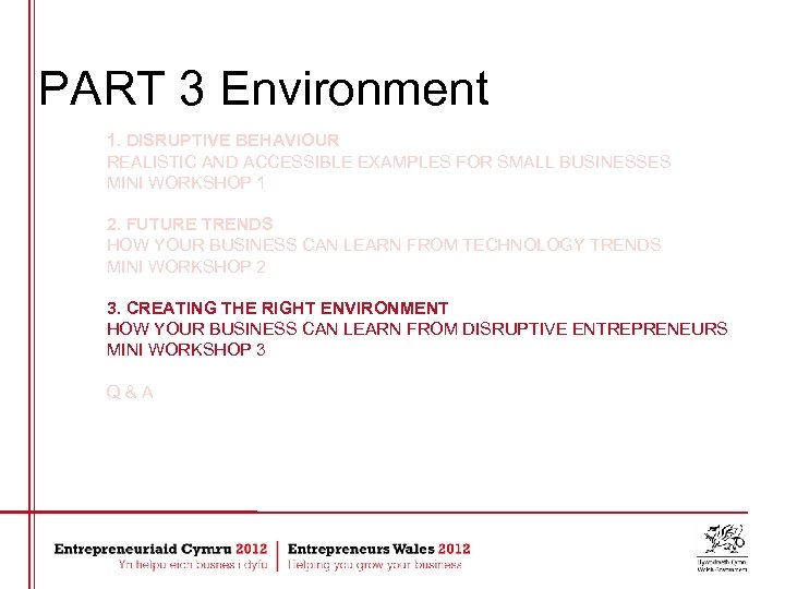 PART 3 Environment 1. DISRUPTIVE BEHAVIOUR REALISTIC AND ACCESSIBLE EXAMPLES FOR SMALL BUSINESSES MINI