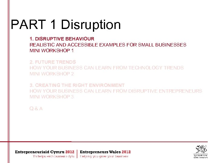 PART 1 Disruption 1. DISRUPTIVE BEHAVIOUR REALISTIC AND ACCESSIBLE EXAMPLES FOR SMALL BUSINESSES MINI