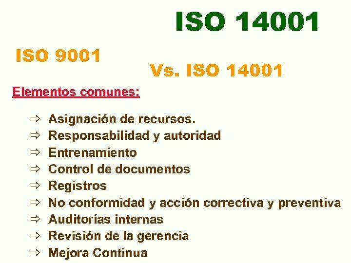 ISO 14001 ISO 9001 Vs. ISO 14001 Elementos comunes: ð ð ð ð ð