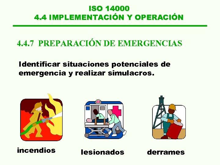 ISO 14000 4. 4 IMPLEMENTACIÓN Y OPERACIÓN 4. 4. 7 PREPARACIÓN DE EMERGENCIAS Identificar