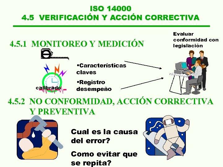 ISO 14000 4. 5 VERIFICACIÓN Y ACCIÓN CORRECTIVA 4. 5. 1 MONITOREO Y MEDICIÓN