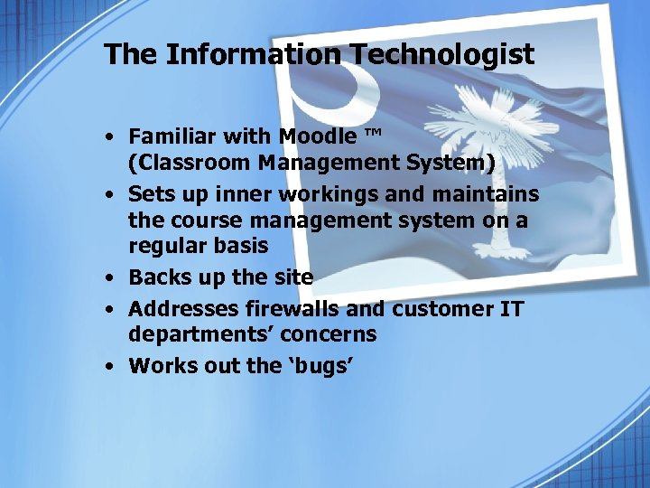 The Information Technologist • Familiar with Moodle ™ (Classroom Management System) • Sets up
