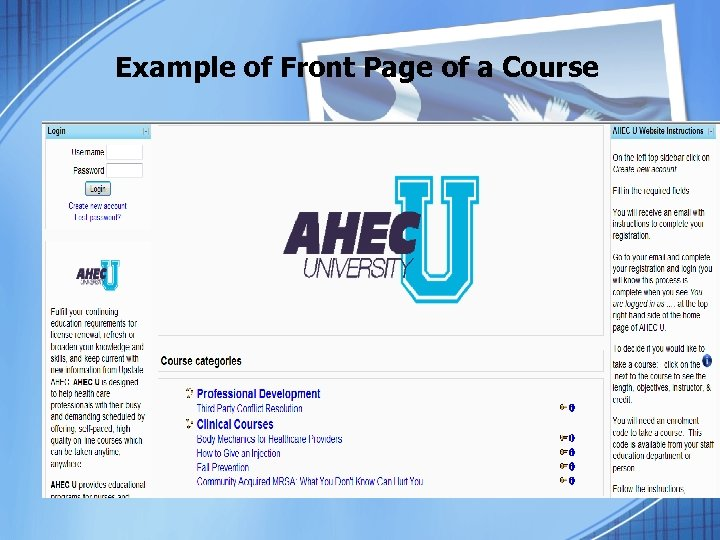 Example of Front Page of a Course