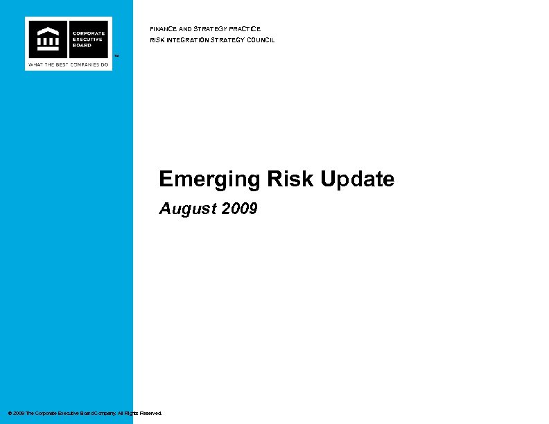 FINANCE AND STRATEGY PRACTICE RISK INTEGRATION STRATEGY COUNCIL ™ Emerging Risk Update August 2009