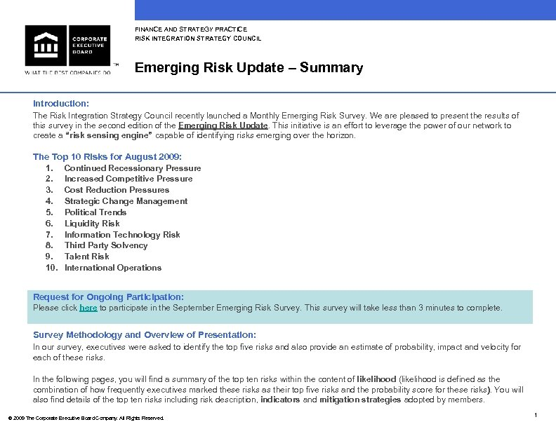 FINANCE AND STRATEGY PRACTICE RISK INTEGRATION STRATEGY COUNCIL Emerging Risk Update – Summary Introduction: