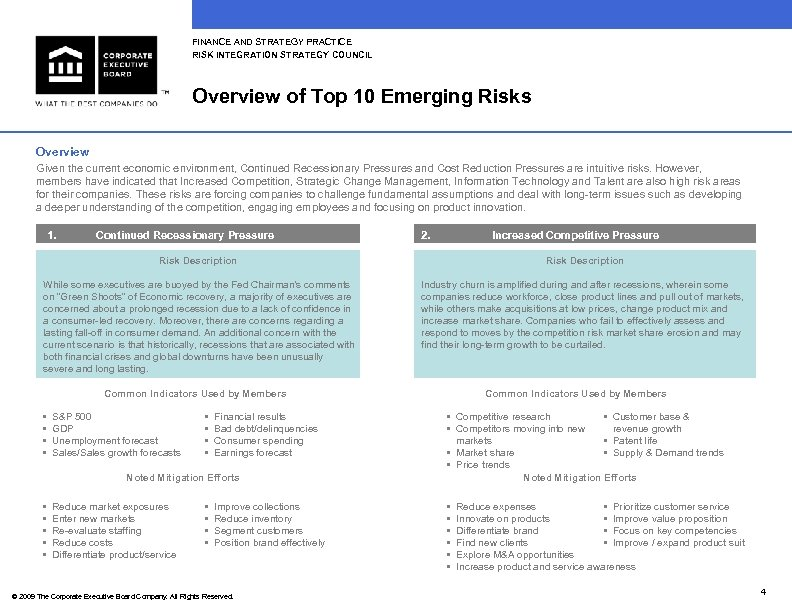 FINANCE AND STRATEGY PRACTICE RISK INTEGRATION STRATEGY COUNCIL Overview of Top 10 Emerging Risks