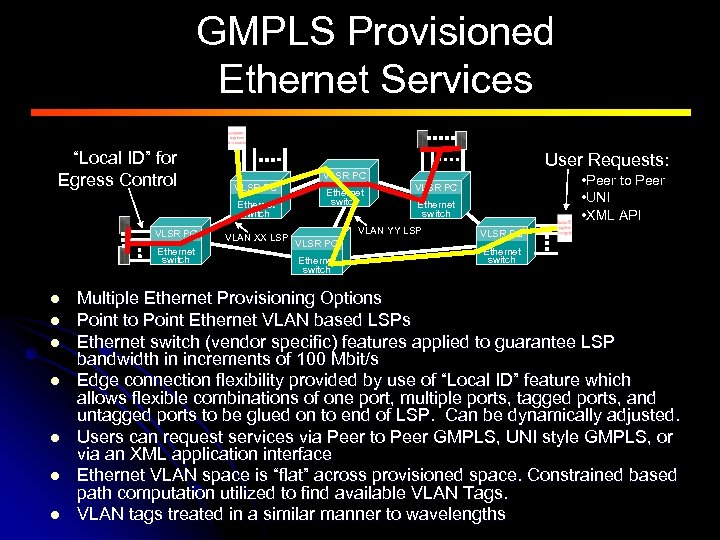 """GMPLS Provisioned Ethernet Services """"Local ID"""" for Egress Control VLSR PC Ethernet switch l"""