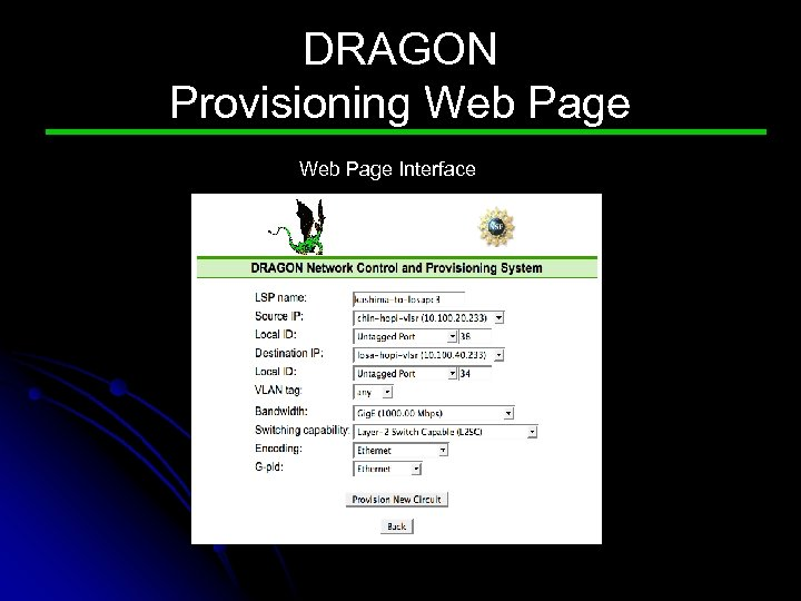 DRAGON Provisioning Web Page Interface