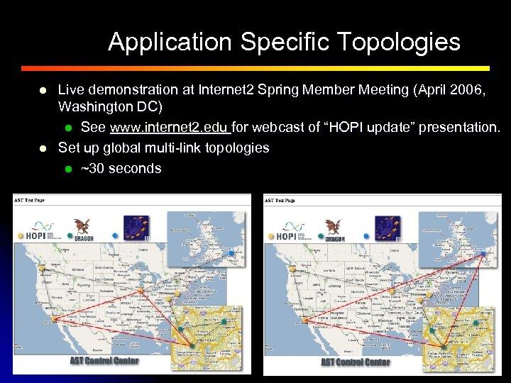 Application Specific Topologies l l Live demonstration at Internet 2 Spring Member Meeting (April