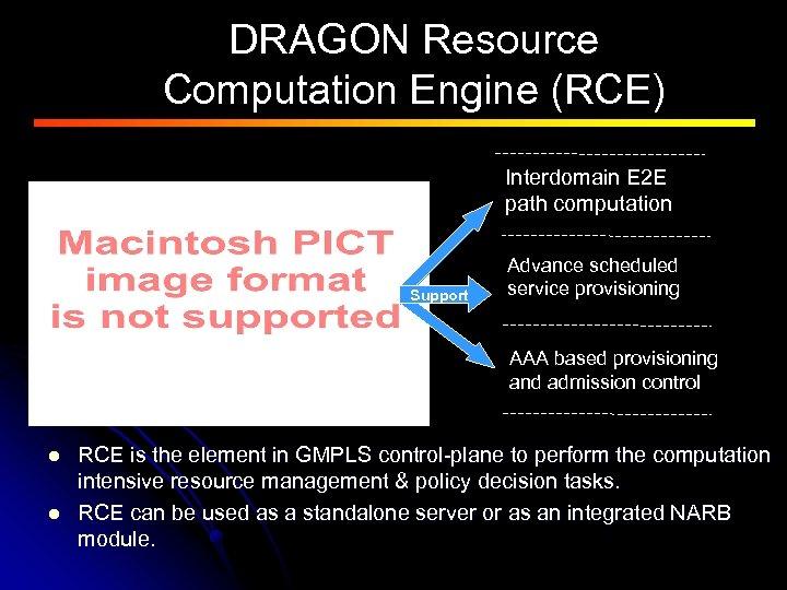 DRAGON Resource Computation Engine (RCE) Interdomain E 2 E path computation Support Advance scheduled