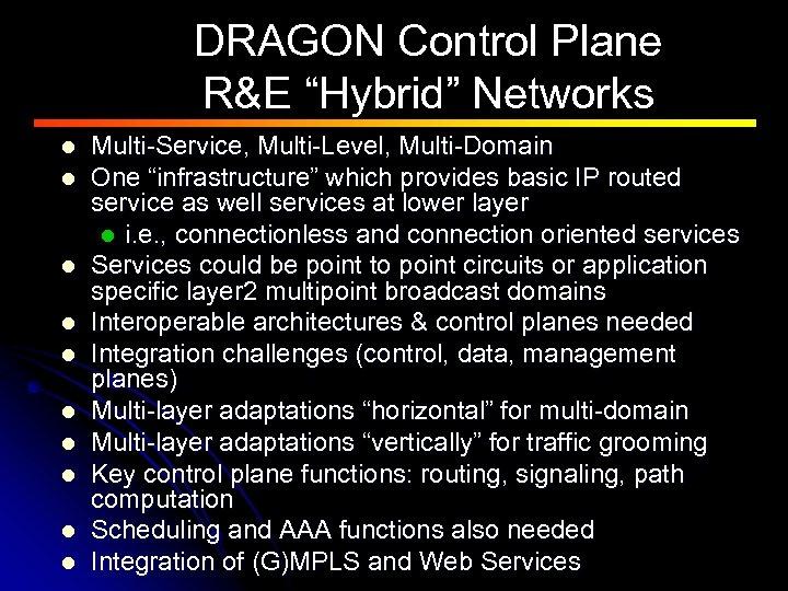 """DRAGON Control Plane R&E """"Hybrid"""" Networks l l l l l Multi-Service, Multi-Level, Multi-Domain"""