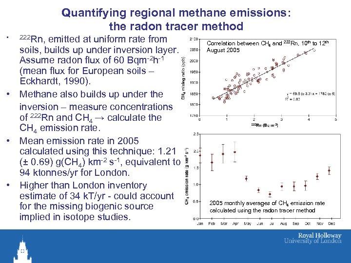 Quantifying regional methane emissions: the radon tracer method • 222 Rn, emitted at uniform