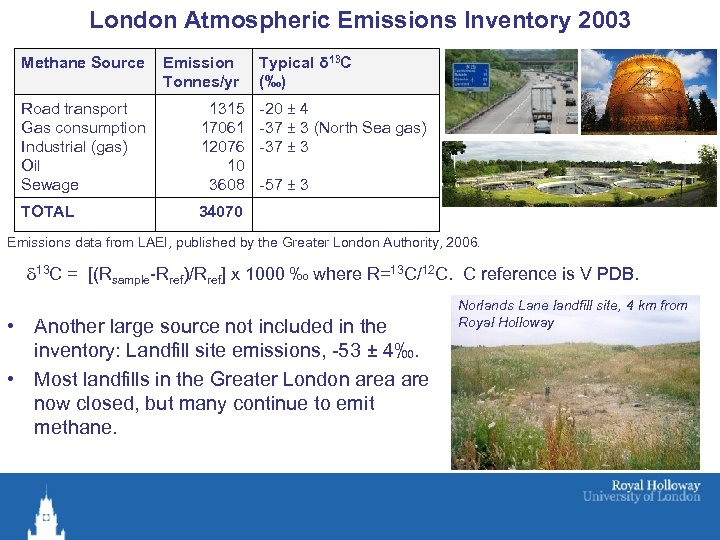 London Atmospheric Emissions Inventory 2003 Methane Source Emission Tonnes/yr Road transport Gas consumption Industrial