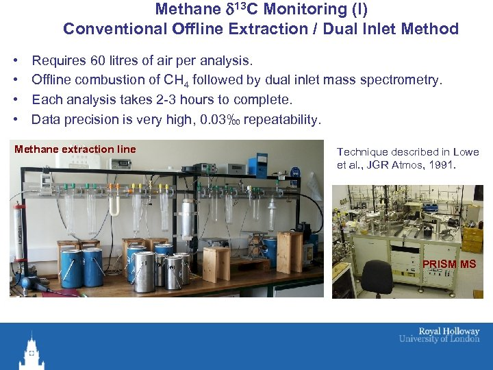 Methane d 13 C Monitoring (I) Conventional Offline Extraction / Dual Inlet Method •