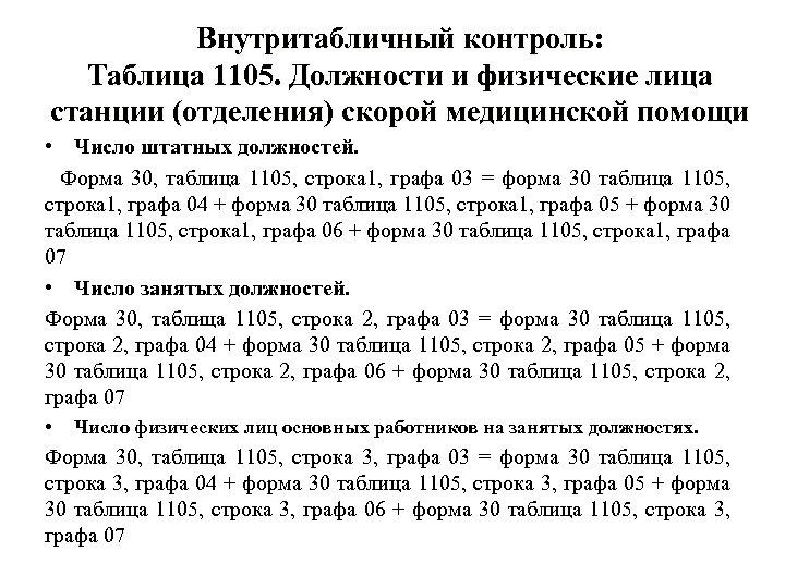 Внутритабличный контроль: Таблица 1105. Должности и физические лица станции (отделения) скорой медицинской помощи •