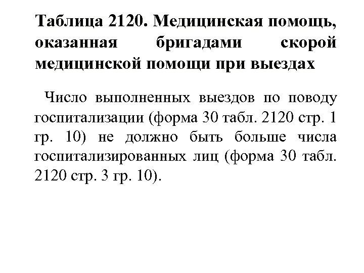 Таблица 2120. Медицинская помощь, оказанная бригадами скорой медицинской помощи при выездах Число выполненных выездов