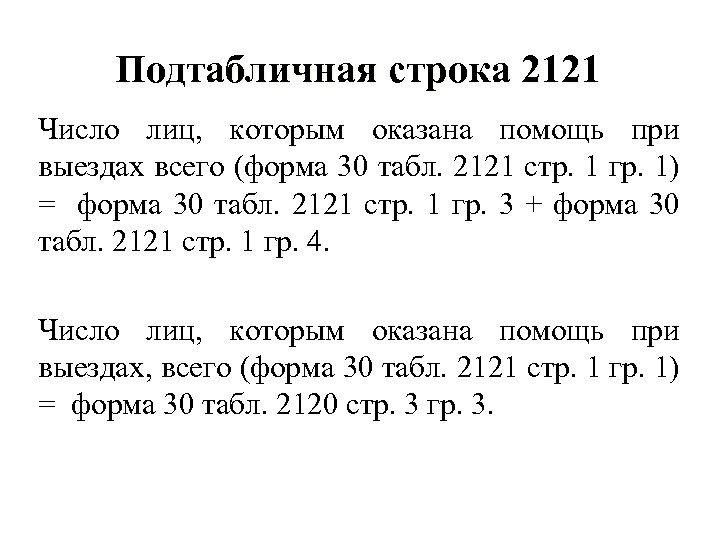 Подтабличная строка 2121 Число лиц, которым оказана помощь при выездах всего (форма 30 табл.