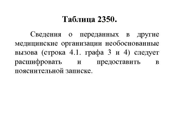 Таблица 2350. Сведения о переданных в другие медицинские организации необоснованные вызова (строка 4. 1.