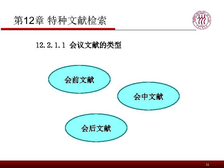 第 12章 特种文献检索 12. 2. 1. 1 会议文献的类型 会前文献 会中文献 会后文献 11