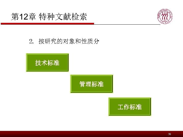 第 12章 特种文献检索 2. 按研究的对象和性质分 技术标准 管理标准 作标准 30