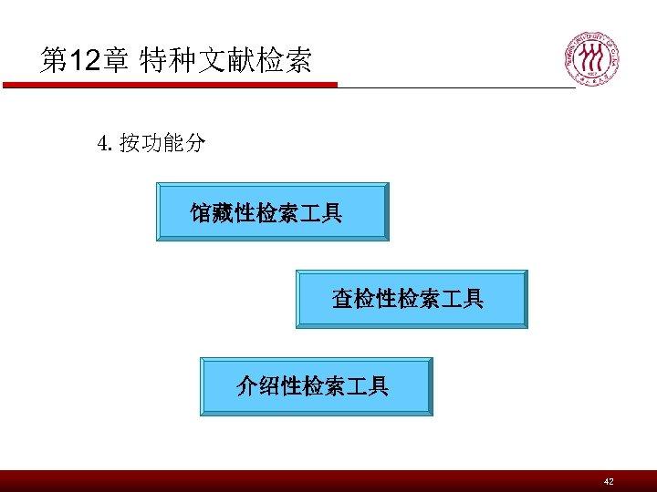 第 12章 特种文献检索 4. 按功能分 馆藏性检索 具 查检性检索 具 介绍性检索 具 42