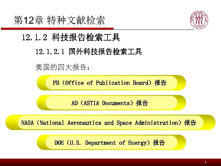 第 12章 特种文献检索 12. 1. 2 科技报告检索 具 12. 1 国外科技报告检索 具 美国的四大报告: PB(Office