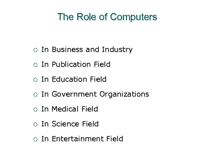 The Role of Computers ¡ In Business and Industry ¡ In Publication Field ¡