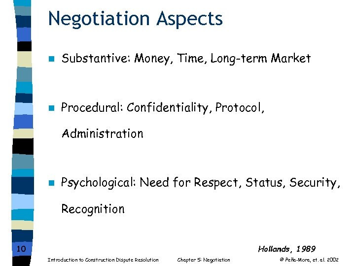 Negotiation Aspects n Substantive: Money, Time, Long-term Market n Procedural: Confidentiality, Protocol, Administration n