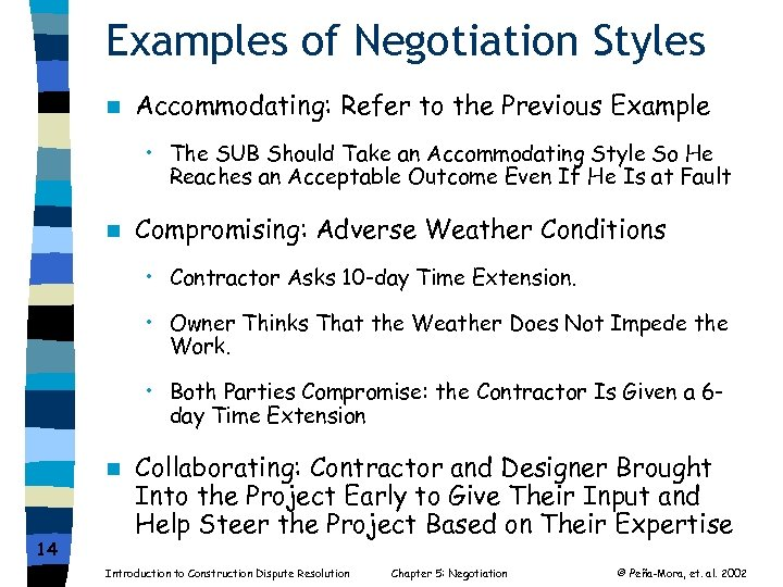 Examples of Negotiation Styles n Accommodating: Refer to the Previous Example • The SUB