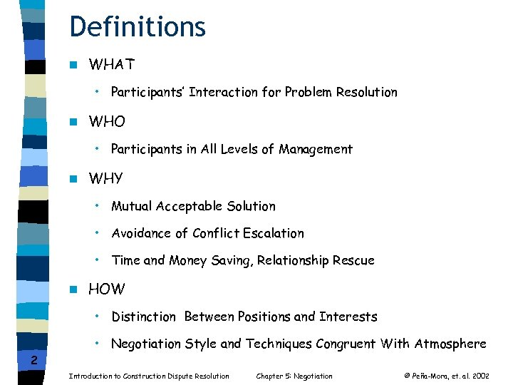Definitions n WHAT • Participants' Interaction for Problem Resolution n WHO • Participants in