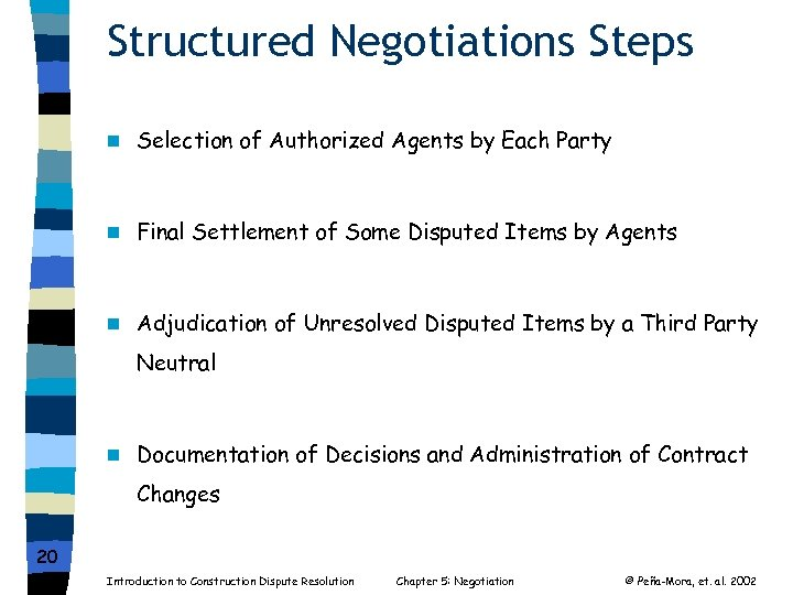 Structured Negotiations Steps n Selection of Authorized Agents by Each Party n Final Settlement