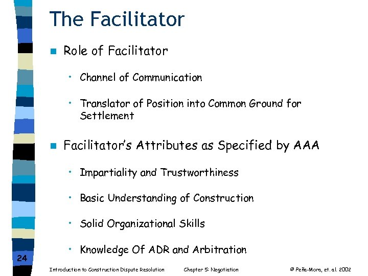 The Facilitator n Role of Facilitator • Channel of Communication • Translator of Position