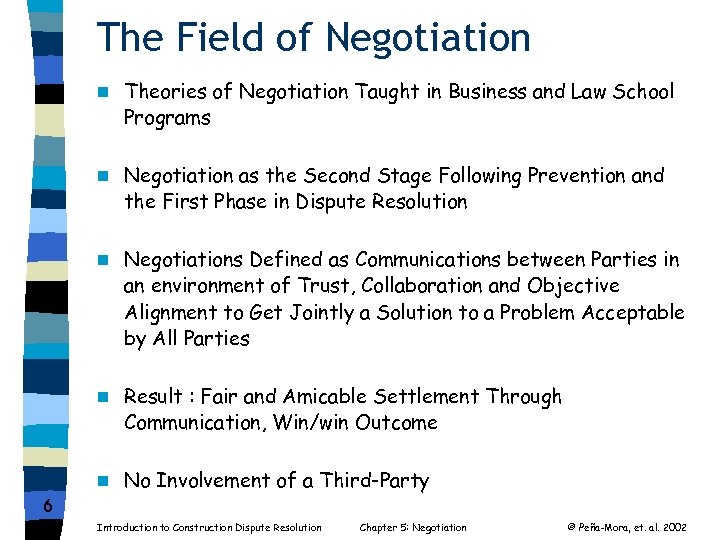 The Field of Negotiation n Theories of Negotiation Taught in Business and Law School