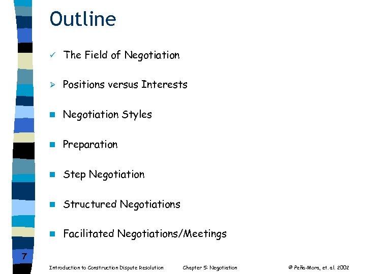 Outline ü The Field of Negotiation Ø Positions versus Interests n Negotiation Styles n