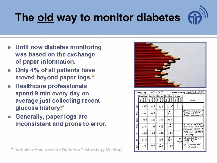 The old way to monitor diabetes ● Until now diabetes monitoring was based on
