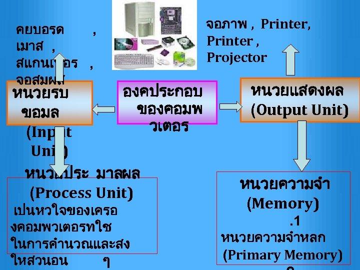 คยบอรด , เมาส , สแกนเนอร , จอสมผส จอภาพ , Printer , Projector องคประกอบ หนวยแสดงผล