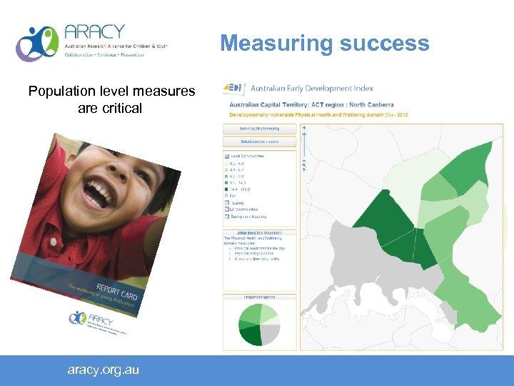 Measuring success Population level measures are critical aracy. org. au