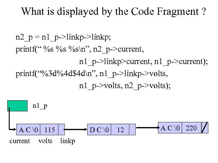 """What is displayed by the Code Fragment ? n 2_p = n 1_p->linkp; printf("""""""