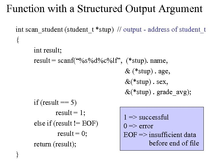 Function with a Structured Output Argument int scan_student (student_t *stup) // output - address