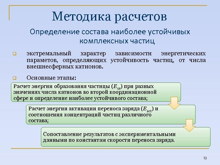 Методика расчетов Определение состава наиболее устойчивых комплексных частиц q экстремальный характер зависимости энергетических параметов,