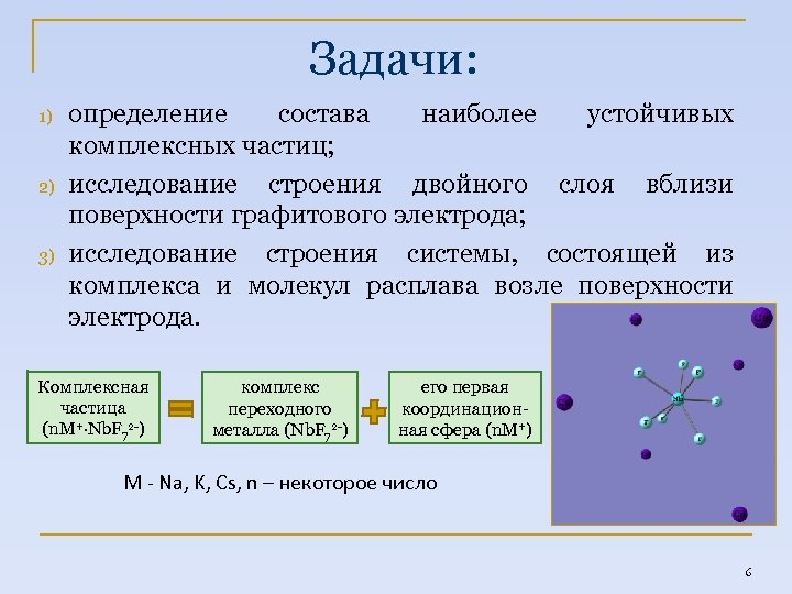 Задачи: 1) 2) 3) определение состава наиболее устойчивых комплексных частиц; исследование строения двойного слоя